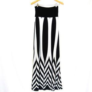 Art Deco Geometric Windowpane Maxi Skirt